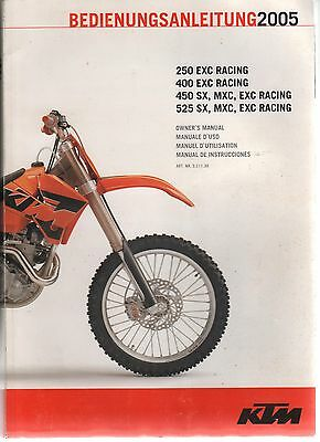 Ktm 250/400/450/525Exc Factory Owners Manual & Spare Parts Manual Chassis