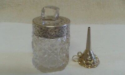Silver Mounted Glass Scent Bottle [London 1922] with Mexican Silver Funnel.