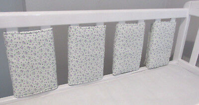 New Babies  💖 Tiny Lilac floral flowers Cot bar bumpers 💖 Pack of 8