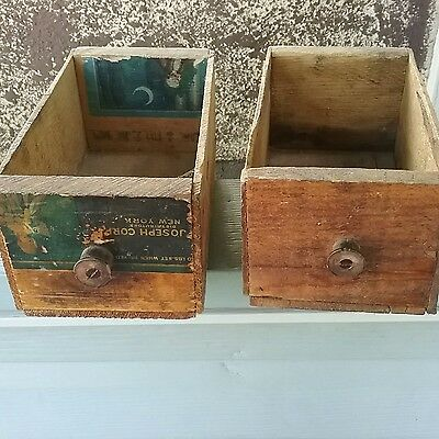 2 Vintage Primative  Wooden drawers/boxes,  wooden Knobs, apothocary