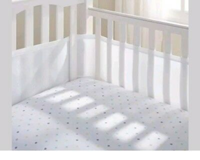 BREATHABLE Mesh Crib Liner WHITE Nursery Bumper SAFER air flow USED see pics