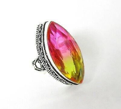 Bi-Color Tourmaline Ring Sz 9.5 Simulated Pink Yellow Faceted Stone 925 Silver