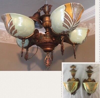 Art Deco Chandelier and Matching Sconces, Painted Glass, Circa 1930