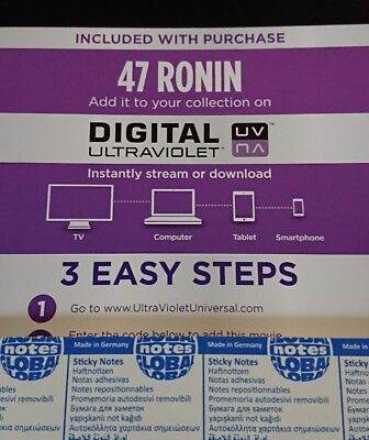 47 Ronin Keanu Reeves UV Ultra Violet Code ONLY