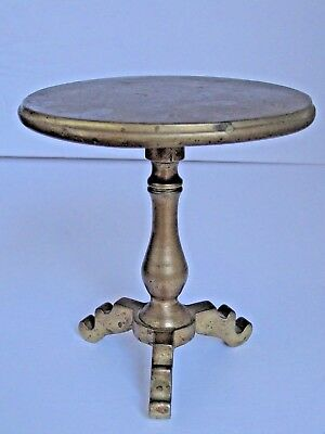 Antique Brass Candle Reflector Taza Miniature Tilt Top Table