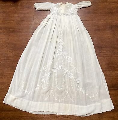 Early 1900s Lace And Embroidery Christening Gown