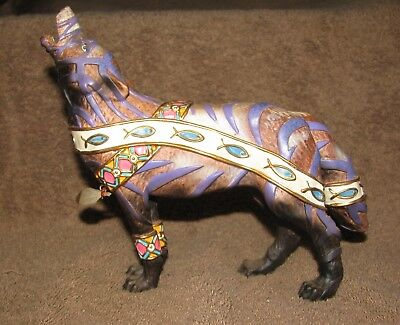 Spirit Wolf Figurine Hand Painted With Embossed Fish, Collar & Ankle Cuffs
