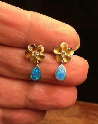 Vintage Jewellery Sterling Australian Fiery Opal Flower Rhinestone Post Earrings