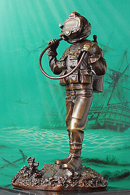 Bronze (Metal) Diving Statue Mounted On Stone Military, Commercial Kirby Us Navy