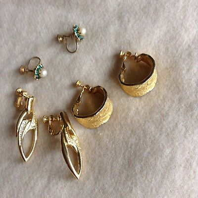 Three Pairs Of Screw Back Earrings Coro Goldette