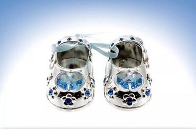 Crystal Shoes~Silver Plated~Blue~Baby Boy Christening~Cake Topper~Free Post Uk