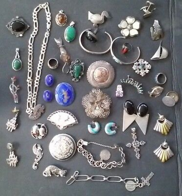 Huge Vintage MIXED LOT Sterling silver Jewelry Mexican, American, native, 514 gr
