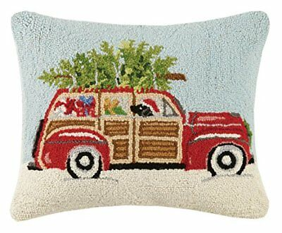 Peking Handicraft Station Wagon Hook Wool Lumbar Pillow, Multicolored