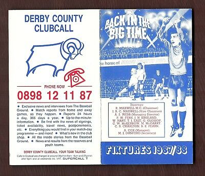 Derby County - Fixture List 1987-1988
