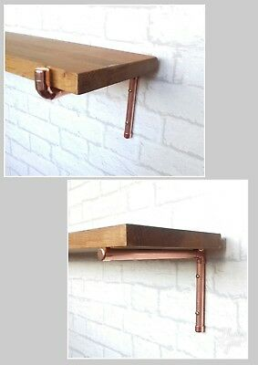 Copper Pipe Shelf Brackets Supports (Pair) - 2 Styles / Various Sizes Rose Gold