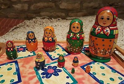 Russian wooden vintage nesting dolls set of 10. Excellent solid condition