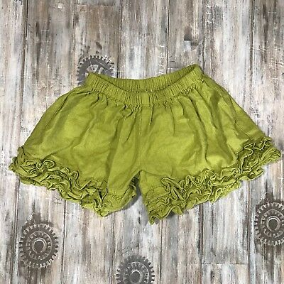 Persnickety Girls Olive Green Ruffle Shorts 100% Cotton Sz 4 Years