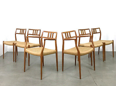 Six 6 Vtg Niels Moller Teak Dining Chairs Armchairs Mid Century Danish Modern