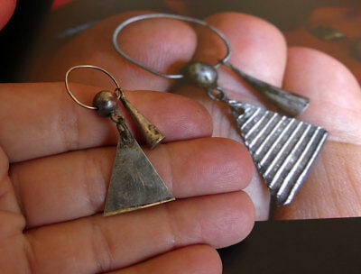 1700's Fur Trade Silver ~ Triangle Ear Bob