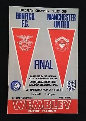 Manchester United vs Benfica European Cup Programme + Signed Ticket by 7 players