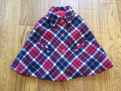 Vintage 1960s Blue Red Checked Wool Girl's Toddler's Cape Coat Age 2-3