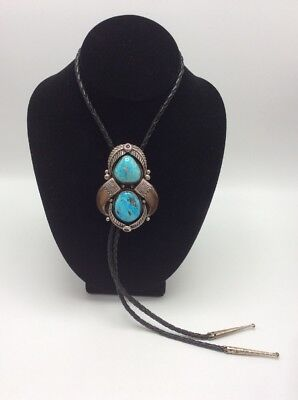 """Signed JP Sterling Silver & Turquoise Bolo Tie 36"""", 73.2g"""