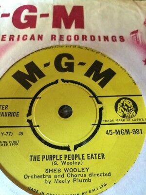 "sheb wooley the purple people eater EX Condition 45rpm.7"" vinyl single.1957."