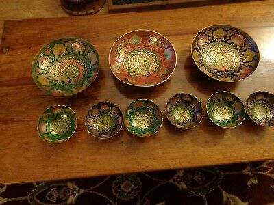 Indian Antique Brass and Enamel set of dishes