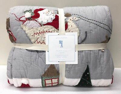 NEW Pottery Barn KIDS North Pole TWIN Quilt, Santa Sled Reindeer Christmas
