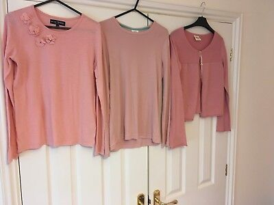Mini boden 2 pink tops and a pink cardigan aged 11-12