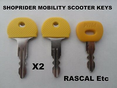 2 X Rascal Shop Rider Mobility Scooter Keys Cut To Code Replacement Key