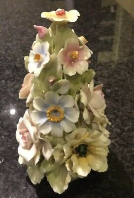 Vintage Italian Capodimonte Ceramic Flower Basket Tower