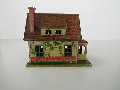 Lionel Pre- War Lighted Bungalow Tin House Clean 184-1 Red Roof