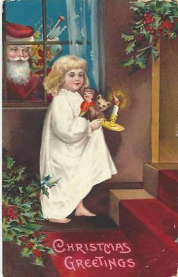 Christmas - Little Girl On  Stairs, Teddy Bear, Father Christmas At The Window