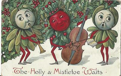 Christmas -Musical Holly & Mistletoe Berries, Singing, Horn, Double Bass Pc