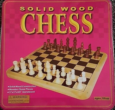 Solid Wood Chess Set In Tin
