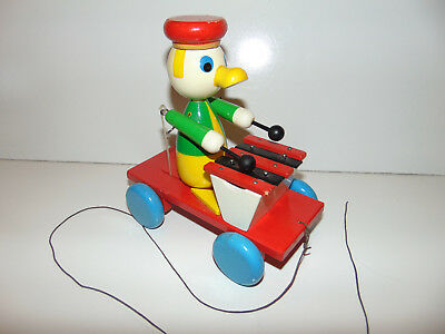 Vintage Germany Wooden Pull Toy Duck Playing Xylophone No Tag 1940's Walter NICE