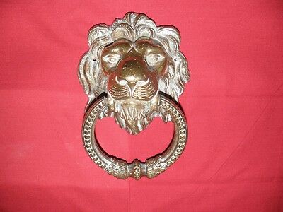 Brass Lion's Head Door Knocker, Vintage And Mint! Beautiful And Impressive!