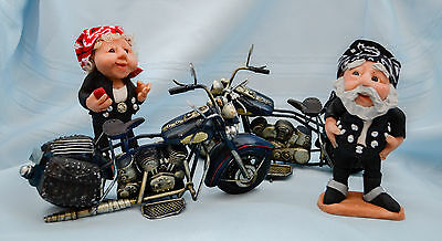 """USA-Made Hand-Sculpted 5"""" Tall Biker Lady/Man Doll Set by Debbie McIntyre"""
