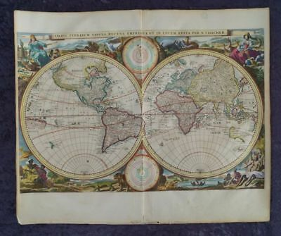 World Map America Europe Africa Asia Australia Orig. Engr. Visscher 1661 #b973