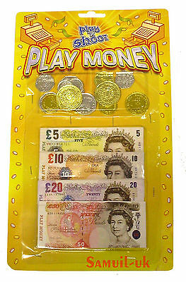 CHILDRENS KIDS PRETEND FAKE TOY PLAY MONEY NOTES & COINS ROLE PLAY AT SHOPS 3y+]