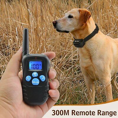 Electric Shock Pet Dog Remote Control Training Collar Anti-Bark Rechargeable LCD
