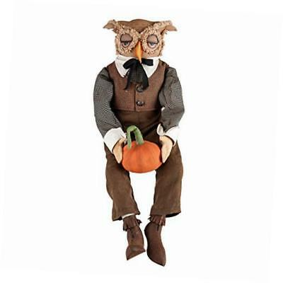 gathered traditions tobias owl collectible figurine, tan