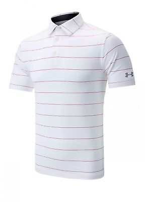 Under Armour Golf Playoff Stripe Polo Shirt White Large