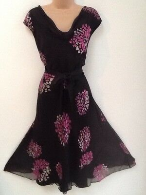 Jacques Vert Size 14 Beautiful Silk Devore Flowers Occsion Dress In Black & Pink
