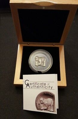 2016 Year of the Monkey Silver 500 Terper Mongolia Coin Box and COA (3454)