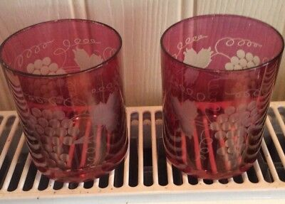 2 x LOVELY VINTAGE CRANBERRY GLASS TUMBLERS