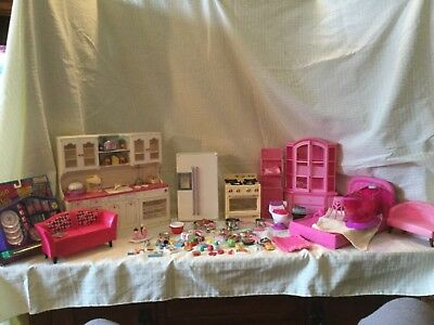 BARBIE Doll House Kitchen Little's Food Refrigerator Stove Dishes Furniture Lot