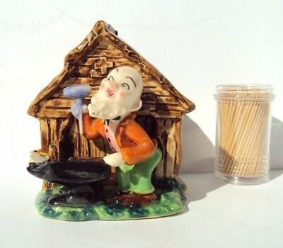 Japan Vintage CERAMIC PLANTER Vase BLACKSMITH ELF Pixie HOUSE Anvil BIRD