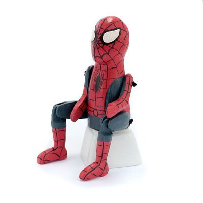 Hand Made Wooden Spiderman Superhero Sitting Hinged Doll Birthday Christmas Gift